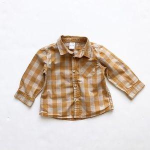 Zara mustard/beige plaid button down EUC 6-9 month